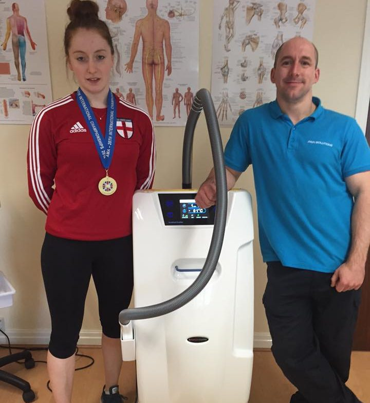 Treating Joanne Phelan British karate champion with the Cryo in the sports injury clinic in warrington